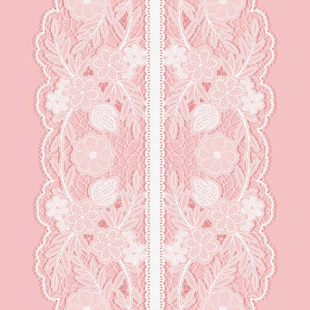 Illustration for White lace seamless pattern of broad vertical floral tape on pink background. Vector illustration. - Royalty Free Image