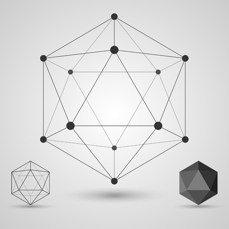 Illustration pour Frame volumetric geometric shapes with edges and vertices. Geometric scientific concept. Vector illustration. - image libre de droit