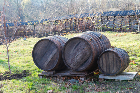 Photo for Wooden barrels with wine, outdoors - Royalty Free Image