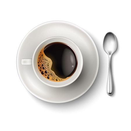 Ilustración de Vector realistic cup coffee saucer spoon top view - Imagen libre de derechos