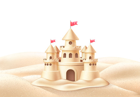 Illustration for Vector seaside sand castle coastline coast shore - Royalty Free Image