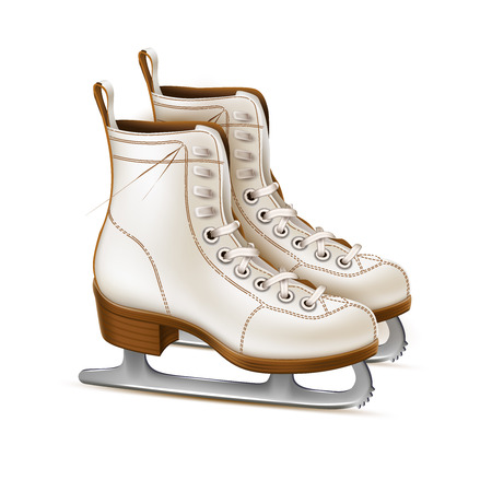 Illustration pour Vector realistic white figure skates, vintage ice rink equipment footwear. Winter active outdoor leisure ice skates, retro christmas and new year holiday decoration symbol. - image libre de droit