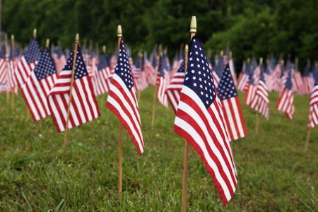 Photo for A lot of american flags. Memorial Day or Independence Day celebration in USA - Royalty Free Image
