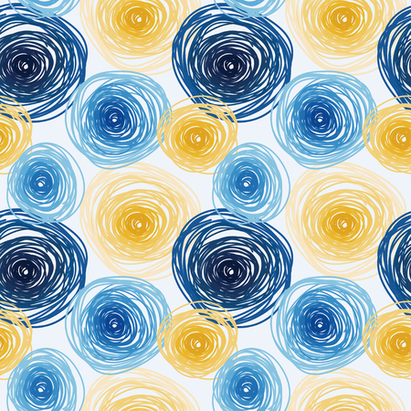 Illustration pour Seamless pattern with colorful circles, abstract tiled ornament, van gogh art style, vector illustration - image libre de droit