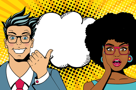 Illustration pour Wow couple faces. Handsome happy young surprised  man and sexy woman in glasses with open mouths and empty speech bubble. Vector colorful cartoon background in pop art comic retro style - image libre de droit