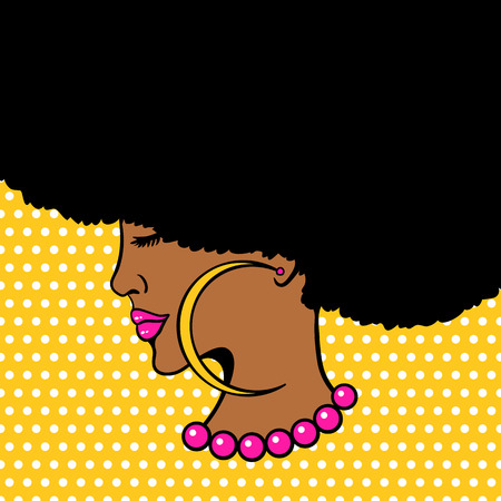 Illustration pour Young woman with Afro hairstyle and big earrings - image libre de droit