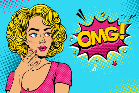 Illustration pour Wow female face. Sexy surprised young woman with open mouth and pink curly hair rising her hand and OMG speech bubble. Vector colorful background in pop art retro comic style party invitation poster. - image libre de droit