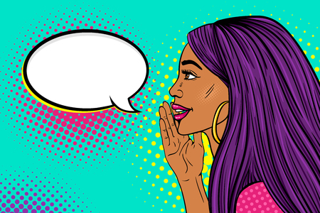 Illustration pour Wow female face profile of sexy surprised young woman with long purple hair and dark skin with a smile telling a secret and empty speech bubble vector background in pop art retro comic style. - image libre de droit