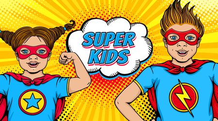 Illustration pour Wow couple. Surprised little girl and happy boy dressed like superheroes with open mouths show power and Super Kids speech bubble. Vector illustration in retro pop art comic style. Invitation poster. - image libre de droit