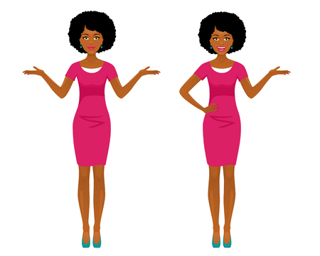 Ilustración de Sexy afro american business woman in two poses: pointing and spreading her hands with smile. Vector cartoon character on white background. - Imagen libre de derechos