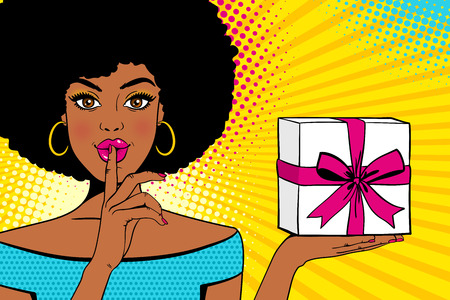 Ilustración de Wow face. Young sexy surprised african american woman with open mouth holding bright gift box in one hand and forefinger at mouth as silence sign. Vector background in retro comic pop art style. - Imagen libre de derechos