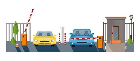 Illustration pour Automatic Rising Up Barrier, automatic system gate for security. - image libre de droit