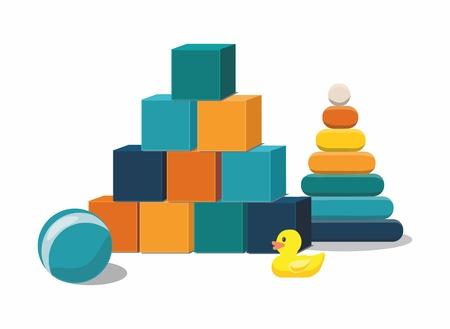 Ilustración de Kids toys. Clorful toys isolated on white background - Imagen libre de derechos