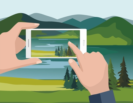 Illustration pour Mobile photography concept. Man looking photos of nature landscape with fir trees and river to phone. Vector Illustration - image libre de droit
