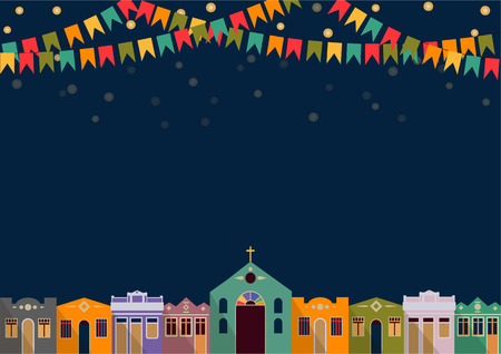 Ilustración de Latin American holiday the June party of Brazil bright night the background with colonial houses church lights and colored flags - Imagen libre de derechos