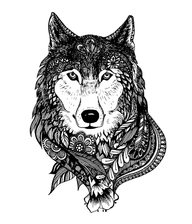 Abstract hand-drawing with elements of ornaments wolf graphic pen, boho.