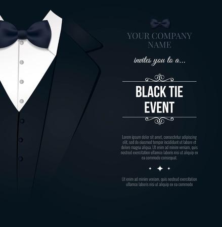 Illustration pour Black Tie Event Invitation. Elegant black and white card. Vector illustration - image libre de droit
