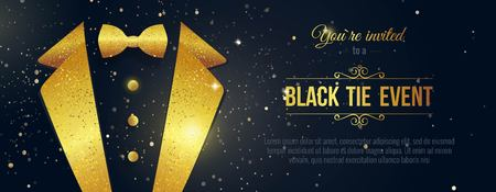 Illustrazione per Horizontal Black Tie Event Invitation. Businessmen banner. Elegant black  card with golden sparkles.  Black banner with businessman suit. Vector illustration - Immagini Royalty Free