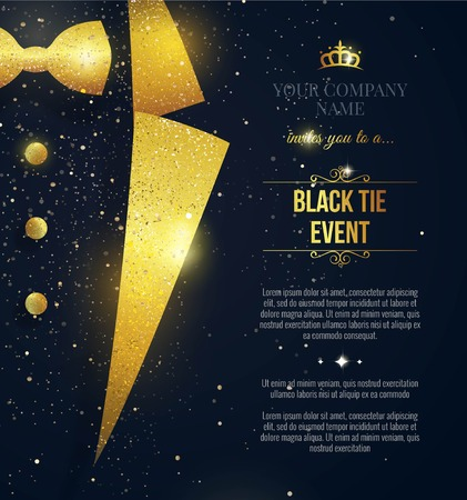 Illustrazione per Black Tie Event Invitation. Elegant black  card with golden sparkles. Vector illustration - Immagini Royalty Free