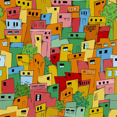 Ilustración de Colorful seamless pattern of slum city. Brazilian favela. Vector background - Imagen libre de derechos