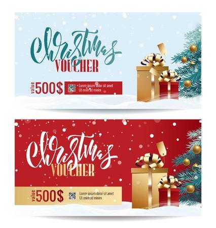 Illustration pour Christmas Gift Voucher Coupon discount. Gift certificate template for Merry Christmas. Shopping concept.  Vector illustration - image libre de droit