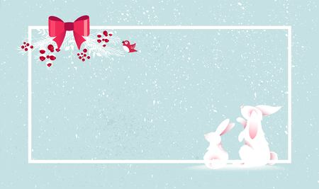 Illustration pour Merry Christmas and Happy New Year vector background with cute bunny and christmas decoration. Winter cartoon illustration - image libre de droit