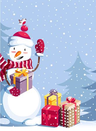 Illustration pour Merry Christmas and Happy New Year vector background with cute snowman and winter landscape. Winter cartoon illustration.  - image libre de droit