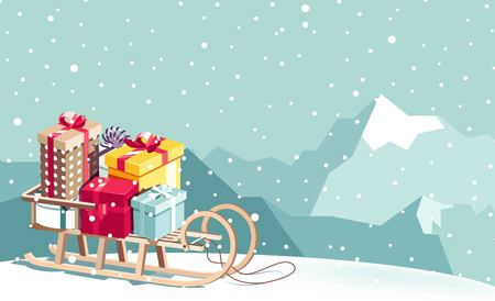 Illustration pour Merry Christmas and Happy New Year vector background with sled, gifts and mountains. Winter cartoon illustration - image libre de droit