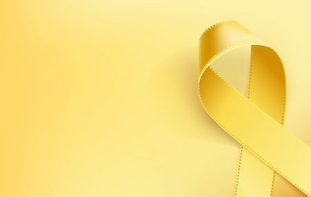 Illustrazione per Childhood Cancer Awareness Ribbon. Realistic yellow ribbon, childhood cancer awareness symbol, isolated on yellow background. Vector illustration - Immagini Royalty Free