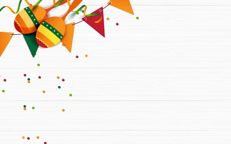 Ilustración de Mexican holiday background. Bunting flags, macaras, confetti on white wooden background. Top view. Vector illustration - Imagen libre de derechos