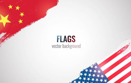 Ilustración de Flags of USA and China isolated on white background. Vector illustration - Imagen libre de derechos