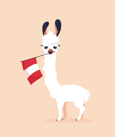 Illustration for Cute cartoon lama with flag of Peru on pink background. Vector illustration - Royalty Free Image