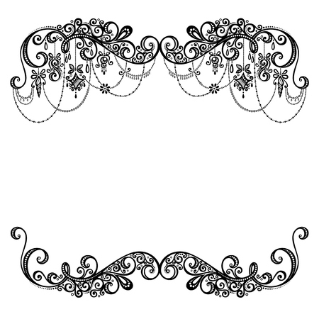 Illustration for Beautiful Holiday Frame with Christmas Decorations  Vector   Patterned design - Royalty Free Image