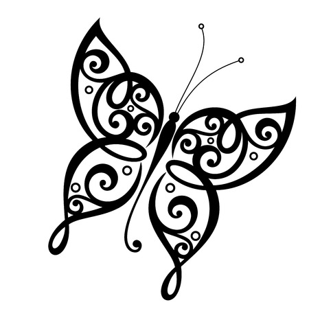 Illustration pour Vector Beautiful Butterfly, Exotic Insect. Patterned design, Tattoo - image libre de droit