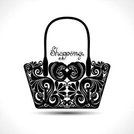 Ilustración de Vector Decorative Ornate Women's Bag. Template of Sale Flyer - Imagen libre de derechos