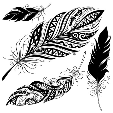 Illustration for Vector Peerless Decorative Feather, Tribal design, Tattoo - Royalty Free Image