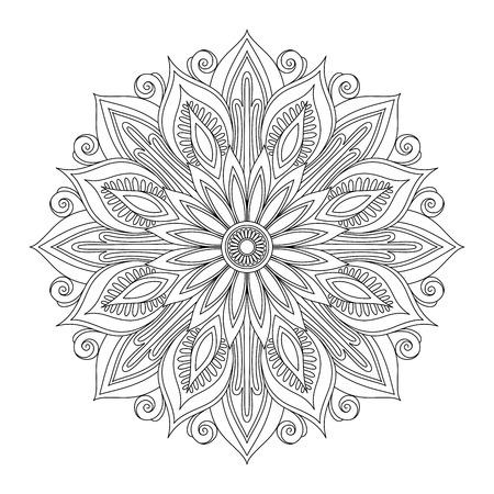 Illustration pour Vector Beautiful Deco Black Mandala, Patterned Design Element, Ethnic Amulet - image libre de droit