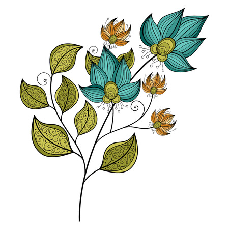 Illustration for Vector Beautiful Colored Contour Flower, Floral Design Element - Royalty Free Image