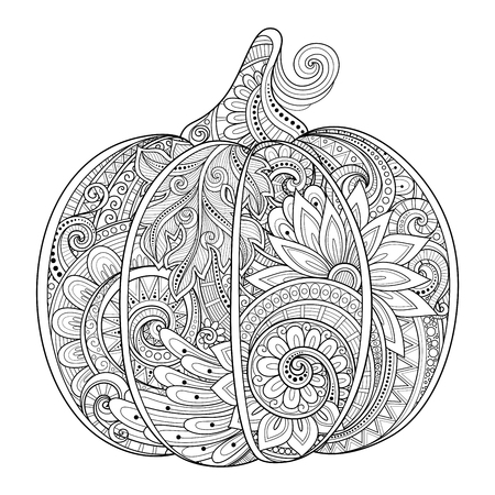 Illustration for Vector Monochrome Decorative Punkim with Beautiful Pattern. Thanksgiving Symbol. Halloween Decorations - Royalty Free Image