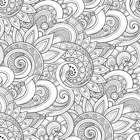 Illustration for Monochrome Seamless Pattern with Floral Motifs. Endless Texture with Flowers, Leaves etc. Natural Background in Doodle Line Style. Coloring Book Page. Vector Contour Illustration. Abstract Art - Royalty Free Image