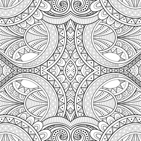 Illustrazione per Monochrome Seamless Tile Pattern, Fancy Kaleidoscope. Endless Ethnic Texture with Abstract Design Element. Art Deco, Nouveau, Paisley Garden Style. Coloring Book Page. Vector Contour Illustration - Immagini Royalty Free