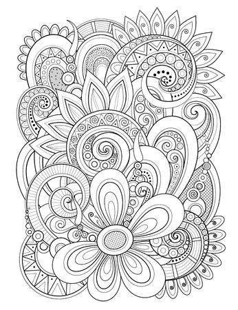 Ilustración de Monochrome Floral Design Element in Doodle Line Style. Decorative Composition with Flowers and Leaves. Elegant Natural Motif. Coloring Book Page. Vector Contour Illustration. Abstract Ornate Art - Imagen libre de derechos