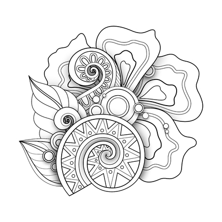 Illustration for Monochrome Floral Illustration in Doodle Style. Decorative Composition with Flowers, Leaves and Swirls. Elegant Natural Motif. Coloring Book Page. Vector Contour 3d Art. Abstract Design Element - Royalty Free Image