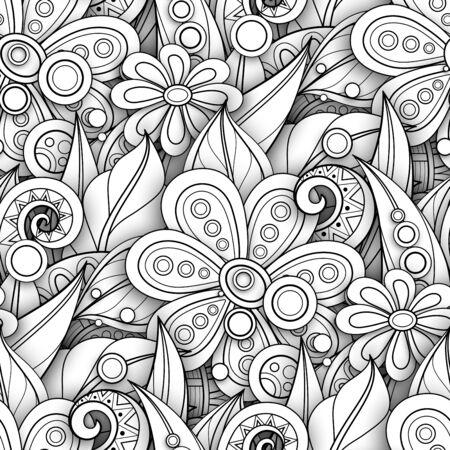 Ilustración de Monochrome Seamless Pattern with Floral Motifs. Endless Texture with Flowers, Leaves etc. Natural Background in Doodle Line Style. Coloring Book Page. Vector 3d Contour Illustration. Abstract Art - Imagen libre de derechos