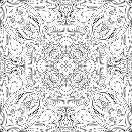 Illustration for Monochrome Seamless Pattern with Mosaic Motif. Endless Floral Texture in Paisley Indian Style. Tile Ethnic Background. Coloring Book Page. Vector Contour Illustration. Abstract Mandala Art - Royalty Free Image