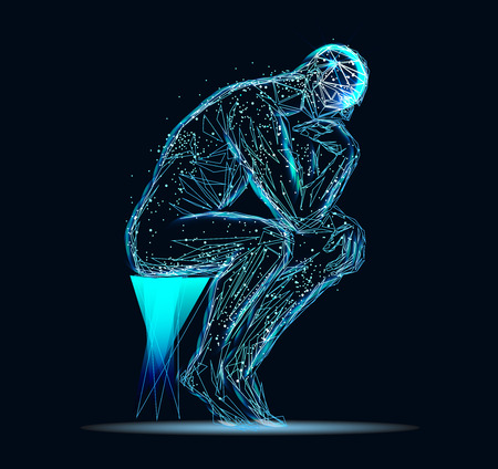 Photo pour Abstract image of a thinking man - image libre de droit