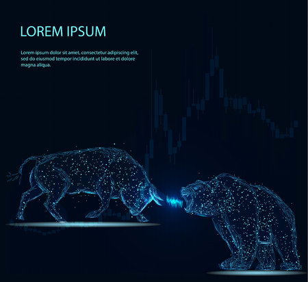 Illustration pour Stock exchange trading banner. The bulls and bears struggle. Equity market concept illustration. Abstract image in the form of a starry sky or space, consisting of points, lines, and shapes in the form of planets, stars and the universe. Vector wireframe concept. - image libre de droit