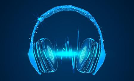 Illustrazione per Bright glowing neon headphones - Immagini Royalty Free