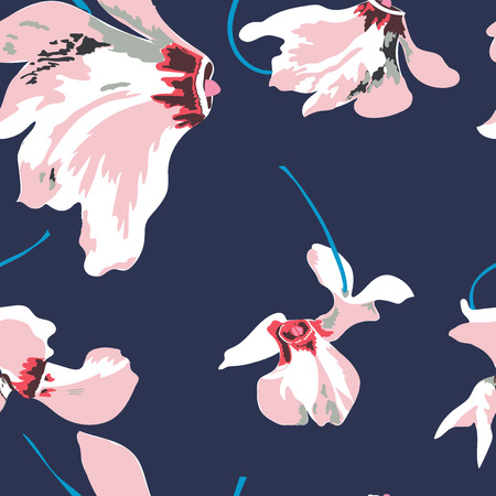 Illustration for Floral seamless pattern with beautiful pink flowers. Tropical design. - Royalty Free Image