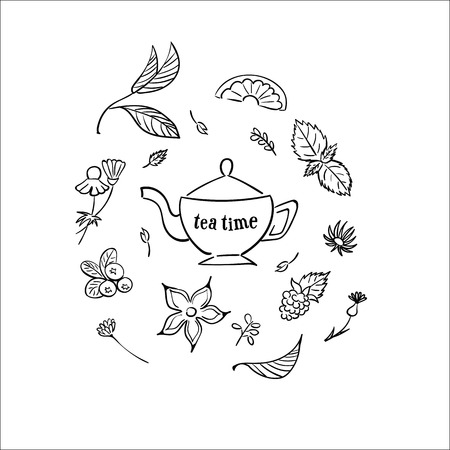 Illustration pour Tea time set. Herbal tea - image libre de droit
